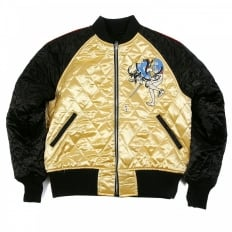 Black and Gold Quilted Regular Fit Blouson Jacket with Embroidered Samurai Woman and 4A Hero