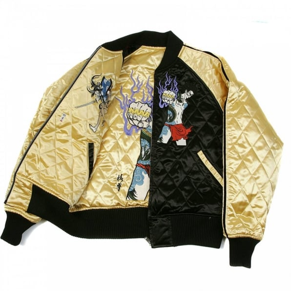 RMC JEANS Black and Gold Quilted Regular Fit Blouson Jacket with Embroidered Samurai Woman and 4A Hero