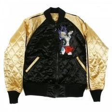Black and Gold Quilted Regular Fit Reversible Blouson Jacket with Embroidered 4A Hero
