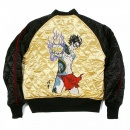RMC JEANS Black and Gold Quilted Regular Fit Reversible Blouson Jacket with Embroidered 4A Hero