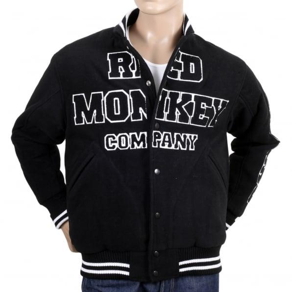 RMC JEANS Black and White Regular Fit Varsity Baseball Jacket