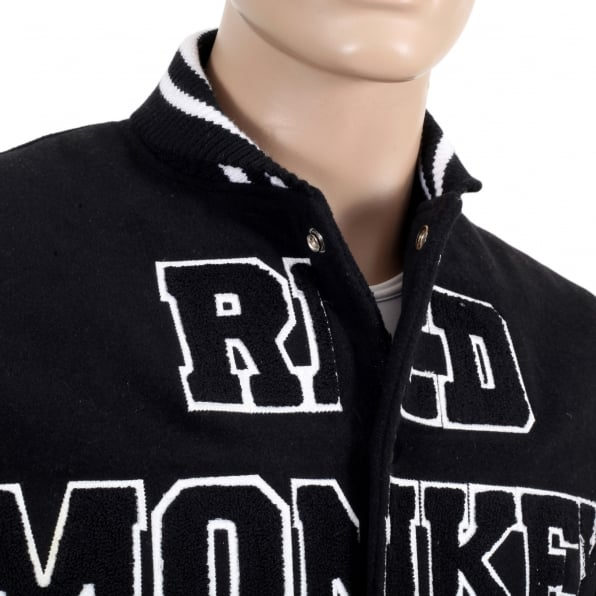 RMC JEANS Black and White Regular Fit Varsity Baseball Jacket