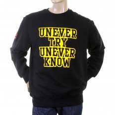 Black Crew Neck Large Fitting Sweatshirt For Men
