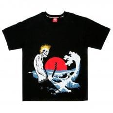 Black Crew Neck Regular Fit Printed Rock Front T-Shirt