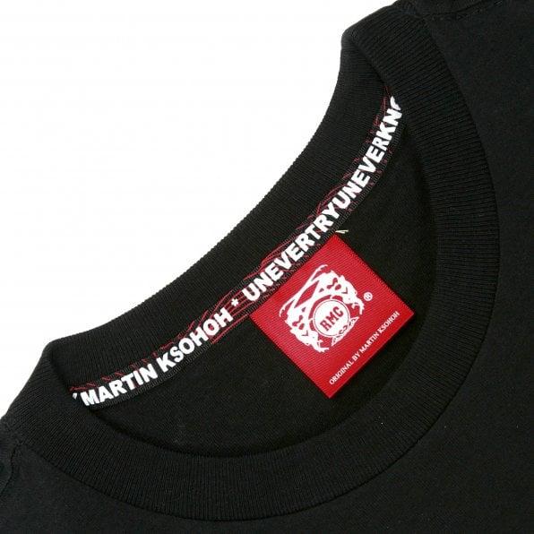 RMC JEANS Black Crew Neck Regular Fit T-Shirt with Black Logo Print