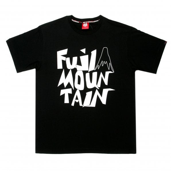RMC JEANS Black Crew Neck Regular Fit T-Shirt with Fuji Mountain Print