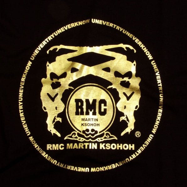 RMC JEANS Black Crew Neck Regular Fit T-Shirt with Gold Logo Print