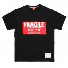 Black Crew Neck Regular Fit T-Shirt with Large Fragile Print