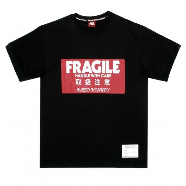 RMC JEANS Black Crew Neck Regular Fit T-Shirt with Large Fragile Print