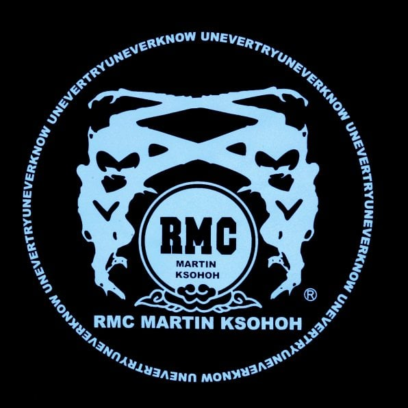 RMC JEANS Black Crew Neck Regular Fit T-Shirt with Light Blue Printed Logo