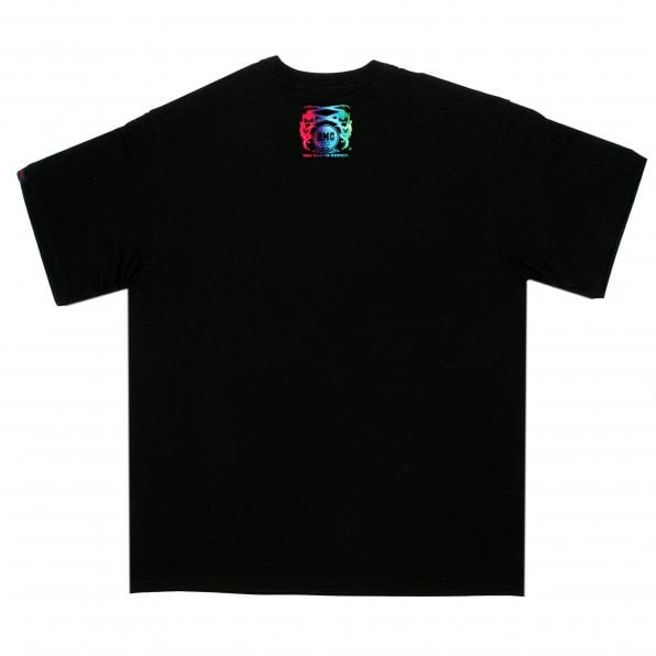 RMC JEANS Black Crew Neck Regular Fit T-Shirt with Logo Print in Rainbow