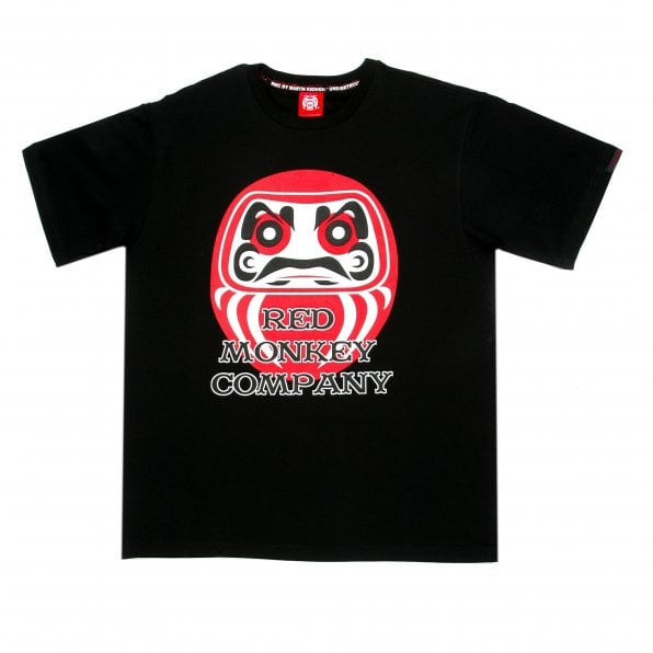 RMC JEANS Black Crew Neck Regular Fit T-Shirt with Lucky God Print