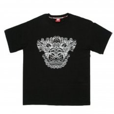 Black Crew Neck Regular Fit T-Shirt with Oriental Lion Print
