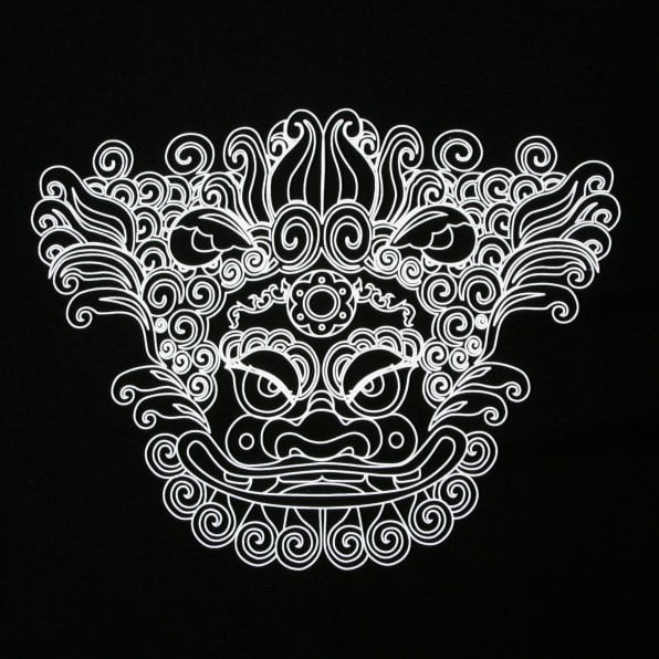 RMC JEANS Black Crew Neck Regular Fit T-Shirt with Oriental Lion Print