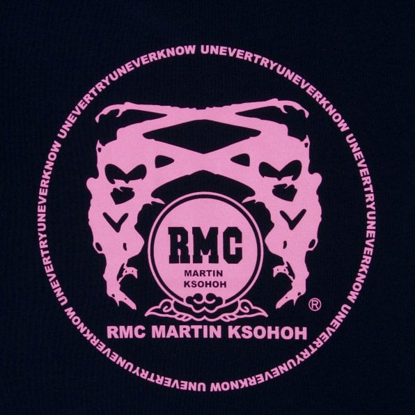 RMC JEANS Black Crew Neck Regular Fit T-Shirt with Printed Logo in Enchanted Pink