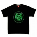 RMC JEANS Black Crew Neck Regular Fit T-Shirt with Printed Logo in Green