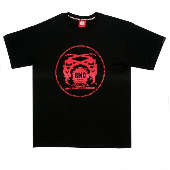RMC JEANS Black Crew Neck Regular Fit T-Shirt with Printed Logo in Scarlet