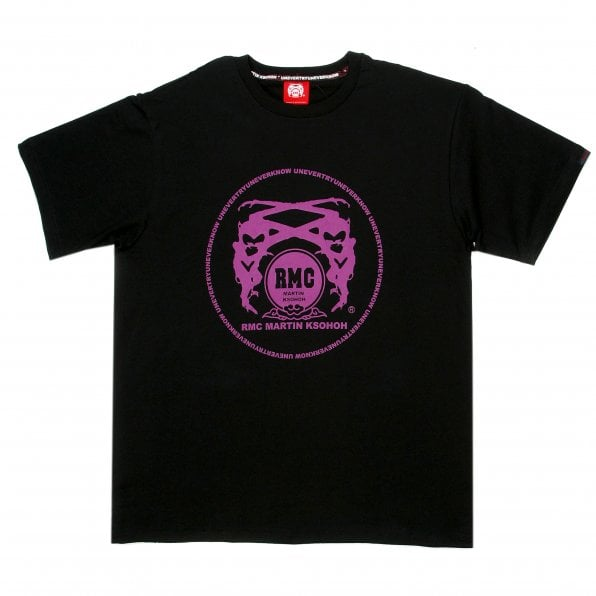 RMC JEANS Black Crew Neck Regular Fit T-Shirt with Printed Logo in Violet