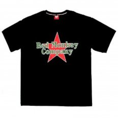 Black Crew Neck Regular Fit T-Shirt with Printed Red Star