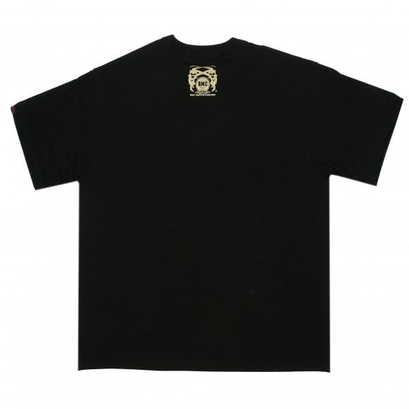 RMC JEANS Black Crew Neck Regular Fit T-Shirt with Printed Red Star