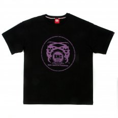 Black Crew Neck Regular Fit T-Shirt with Purple Printed Logo