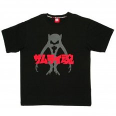 Black Crew Neck Regular Fit T-Shirt with Samurai Monkey Print