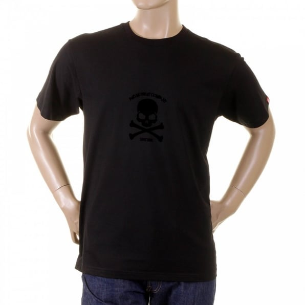 RMC JEANS Black Crew Neck Short Sleeve Regular Fit T-shirt with Black Skull and Crossbones Flock Print