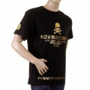 RMC JEANS Black Crew Neck Short Sleeve Regular Fit T-Shirt with Gold Foil Printed Skull and Cross Bones
