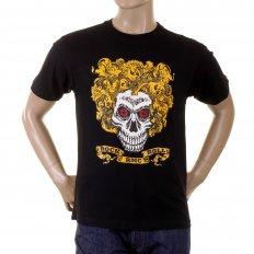 Black Crew Neck Short Sleeve Regular Fit T-Shirt with Large Rock and Roll Skull Print