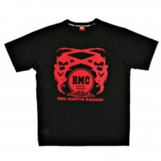 Black Crew Neck Short Sleeve Regular Fit T-Shirt with Printed Logo in Red