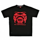 RMC JEANS Black Crew Neck Short Sleeve Regular Fit T-Shirt with Printed Logo in Red