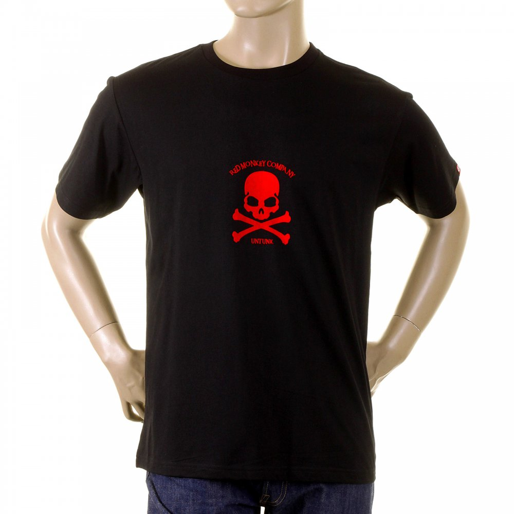 7d60e598c3e61 RMC JEANS Black Crew Neck Short Sleeve Regular Fit T-shirt with Red Skull  and Crossbones Flock Print