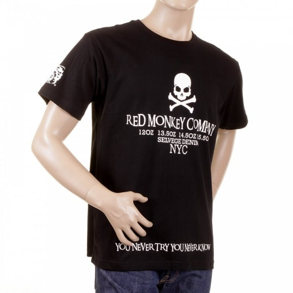 RMC JEANS Black Crew Neck Short Sleeve Regular Fit T-Shirt with White Printed Skull and Cross Bones
