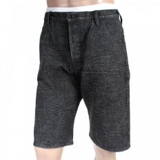 Black Denim Shorts for Men with Black Embroidered Tsunami Waves