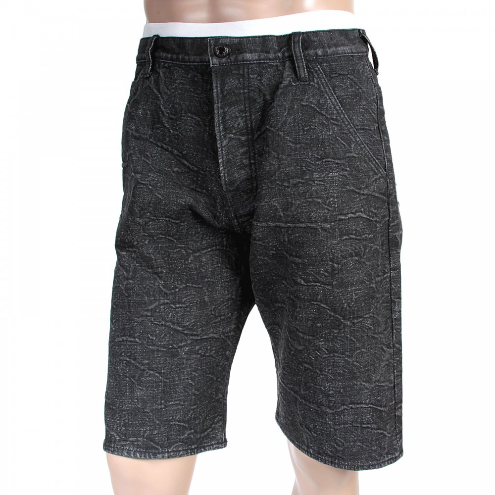 1092830d6 RMC JEANS Black Denim Shorts for Men with Black Embroidered Tsunami Waves