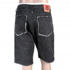 Black Denim Shorts for Men with Black Embroidered Tsunami Waves