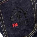 RMC JEANS Black Embroidered Indigo Raw Japanese Selvedge Denim Jeans