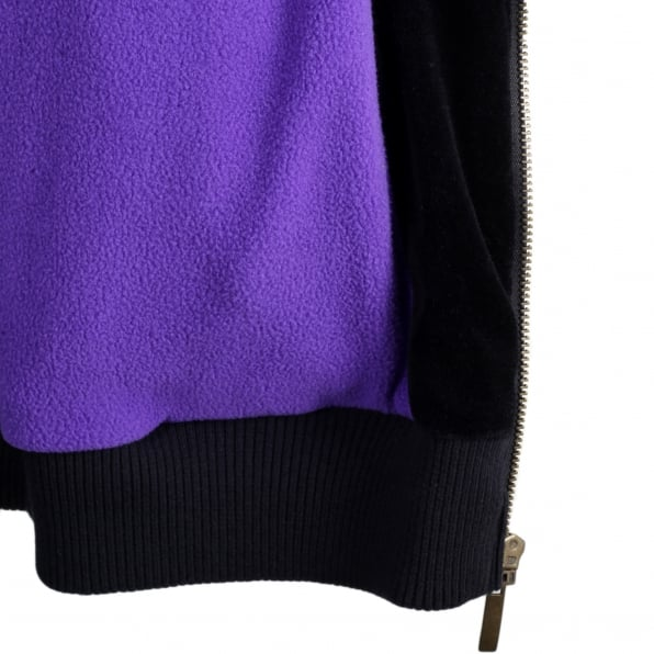 RMC JEANS Black Hooded Regular Fit Embroidered Sakura Flower and Crane Jacket