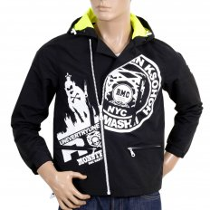 Black Hooded Regular Fit Zipped Monster Rider Jacket