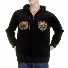 Black Hooded Zip up Regular Fit Jacket with Embroidered Empire Dragon