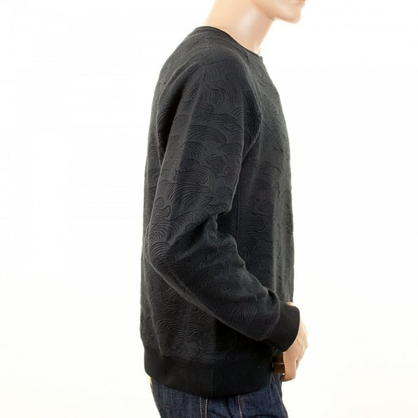 RMC JEANS Black Large Fitting Crew Neck Sweat Shirt for Men