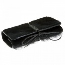 RMC JEANS Black Leather/Horse Hair Bill Fold Credit Card & Coin Pouch Wallet
