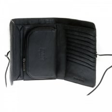 Black Leather/Horse Hair Bill Fold Credit Card & Coin Pouch Wallet