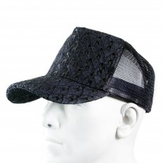 Black Mesh with back embroidered cap for men