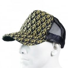 Black Mesh with gold embroidered mens cap