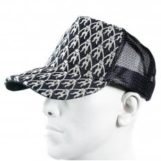 Black Mesh with silver embroidered mens cap