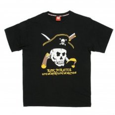 Black Regular Fit Crew Neck Short Sleeve Pirates T-Shirt