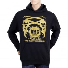Black Regular Fit Long Sleeve Hoodie with Gold Logo