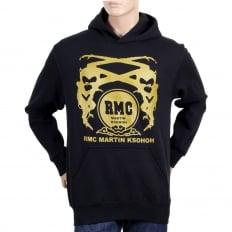 Black Regular Fit Long Sleeve Hoodie with Gold Logo