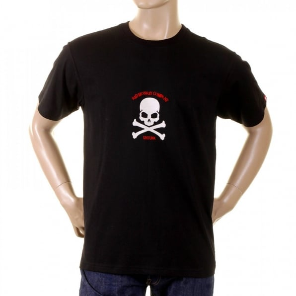RMC JEANS Black Regular Fit Short Sleeve Crew Neck T-Shirt with White Skull and Crossbones Flock Print
